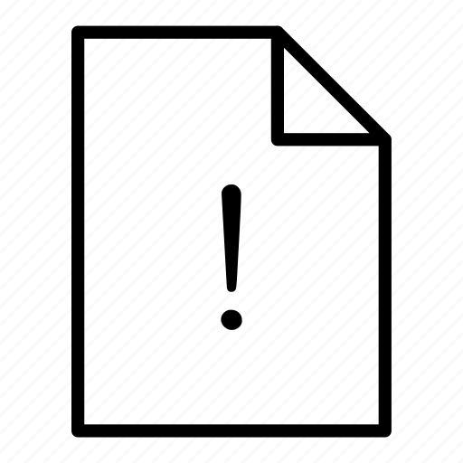 document, file, page, sheet, warning icon