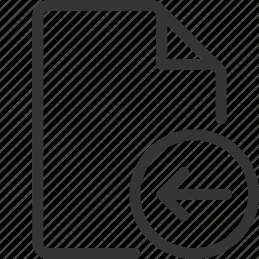 arrow, document, file, left icon