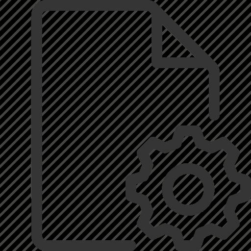 cog, document, file, gear, settings, wheel icon