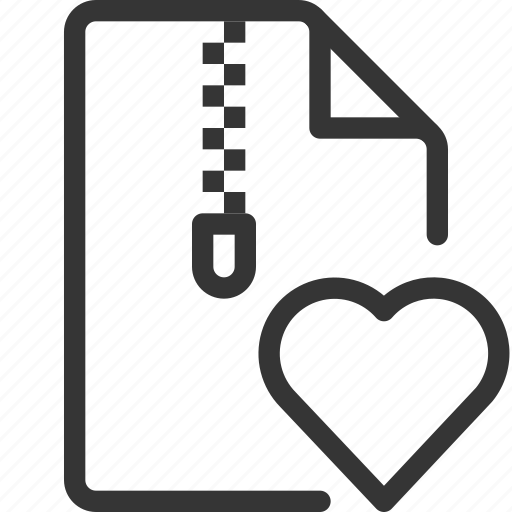 Compressed, document, file, heart, love, zipper icon - Download on Iconfinder