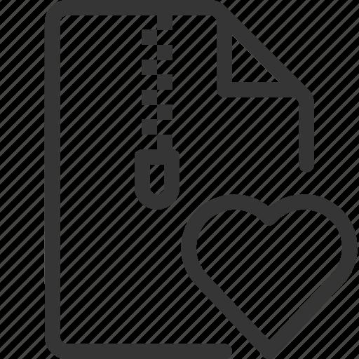compressed, document, file, heart, love, zipper icon
