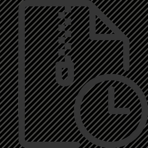 clock, compressed, document, file, time, zipper icon