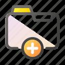 add, data, document, file management, folder icon