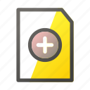 add, data, document, file, file management icon