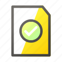 approved, data, document, file, file management icon
