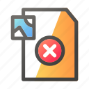cancel, data, document, file management, image icon
