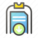 clipboard, data, document, download, file management icon