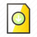 data, document, download, file, file management icon