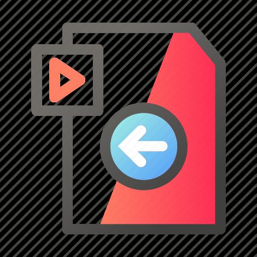 data, document, file management, left, video icon