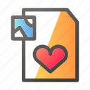 data, document, file management, image, love icon