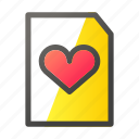 data, document, file, file management, love icon