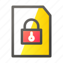 data, document, file management, padlock icon
