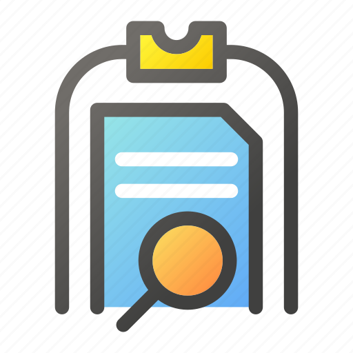 clipboard, data, document, file management, search icon