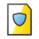 data, document, file, file management, shield icon