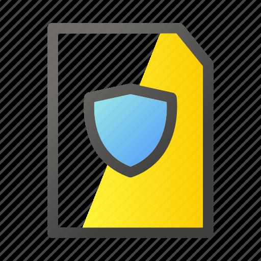 data, document, file, file management, shield icon