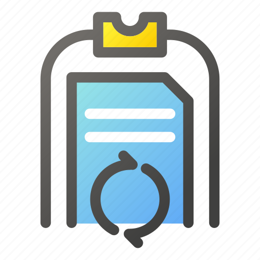 clipboard, data, document, file management, sync icon