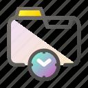 data, document, file management, folder, timer icon