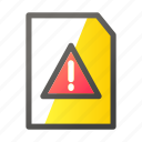 data, document, file, file management, warning icon