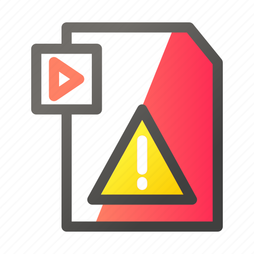 data, document, file management, video, warning icon