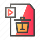 data, delete, document, file management, video icon