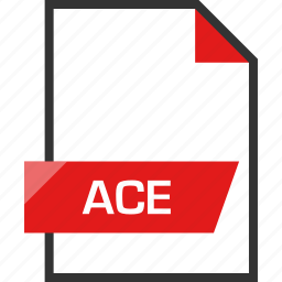 ace, document, extension, file, name icon