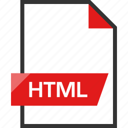 document, extension, file, html, name icon
