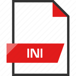 document, extension, file, ini, name icon