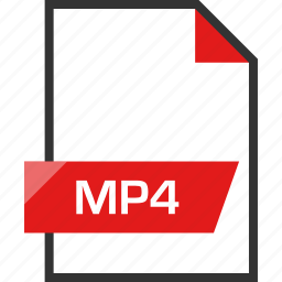 document, extension, file, mp4, name icon