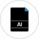 ai file, document, extension, file, illustrator, name icon