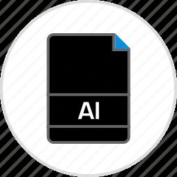 ai file, document, extension, file, illustrator, name icon