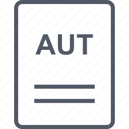 aut, extension, file, name icon