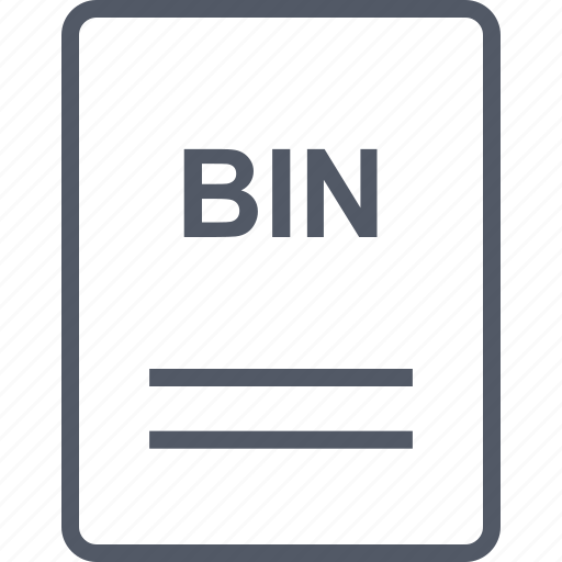 bin, extension, file, name icon