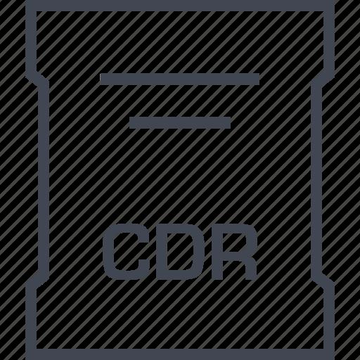 cdr, file, sleek icon
