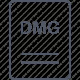 dmg, extension, file, name icon
