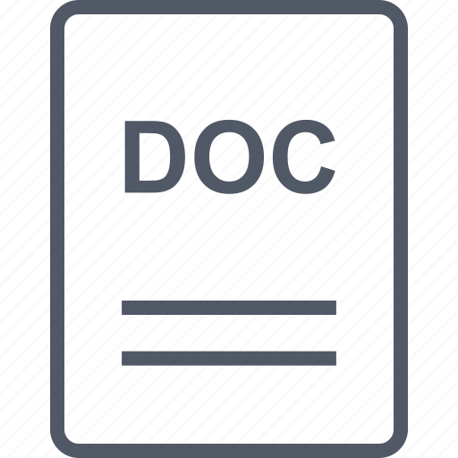 doc, extension, file, name icon