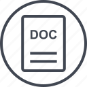 doc, extension, file, page icon