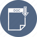 doc, document, extension, file, format, type icon