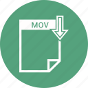 document, extension, format, mov, paper icon