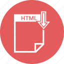 document, extension, format, html, paper icon