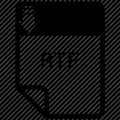 extension, file, file format, rtf icon