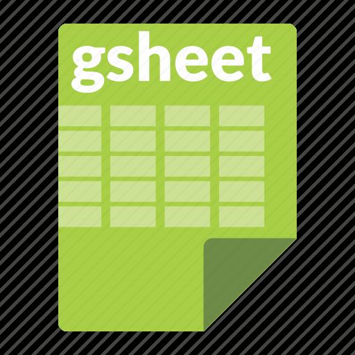 file, format, gsheet, spreadsheet icon