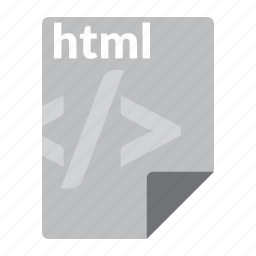 file, format, html, markup, web icon