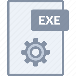 cog, document, exe, file, paper, settings icon