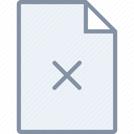cancel, document, file, paper, remove icon