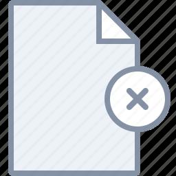 delete, document, file, paper, remove icon