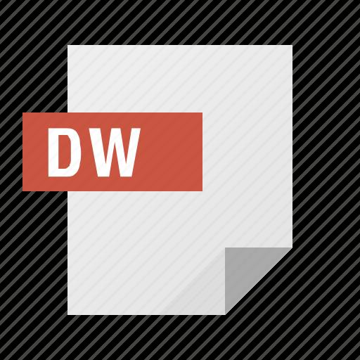 document, dreamweaver, dw, file, filetype icon
