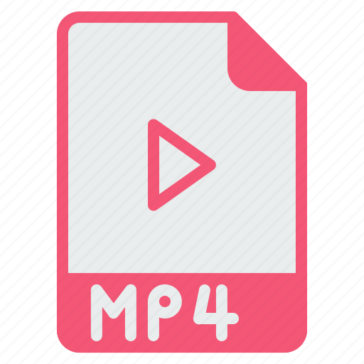 document, extension, file, format, mp4, player, video icon