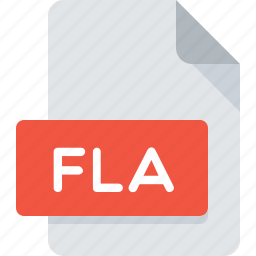 document, extension, file, fla, flash, type icon