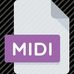 audio, document, extension, file, media, midi, type icon