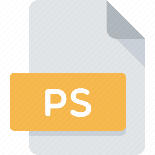 document, extension, file, postscript, ps, type icon